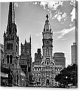 Philadelphia City Hall Bw Canvas Print