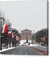 Philadelphia Parkway In The Snow Canvas Print