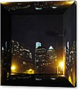 Philadelphia Skyline At Night - Mirror Box Canvas Print