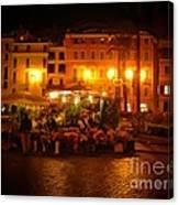 Piazza Flower Vendor Canvas Print