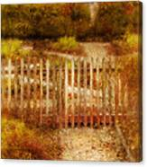 Picket Fence And Cottage Canvas Print