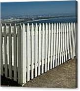 Picket Fence By The Cabrillo National Monument Lighthouse In San Diego Canvas Print