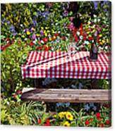 Picnic Table Among The Flowers Canvas Print