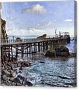 Pier Along Rocky Shore Canvas Print
