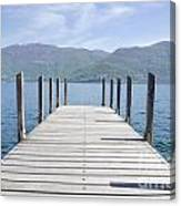 Pier And Snow-capped Mountain Canvas Print