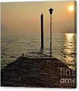 Pier And Sunset Canvas Print