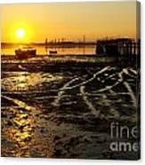 Pier At Sunset Canvas Print