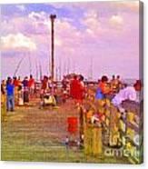 Pier Fishing Canvas Print