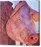 Pig In The Market Canvas Print