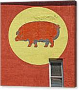 Pig On A Wall Canvas Print