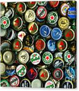Pile Of Beer Bottle Caps . 9 To 16 Proportion Canvas Print