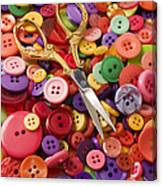 Pile Of Buttons With Scissors  Canvas Print