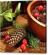 Pine Cones And Christmas Balls  Canvas Print