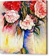 Pink And Red Peony Roses In A Tall Blue Porcelain Vase Canvas Print