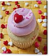 Pink Cupcake With Candy Hearts Canvas Print