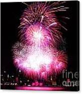 Pink Fireworks At Nyc Canvas Print