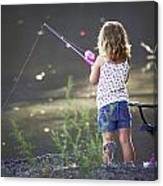 Pink Fishing Rod Canvas Print