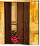 Pink Geraniums Brown Shutters And Yellow Window In Italy Canvas Print