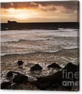 Pink Granite Coast At Sunset Canvas Print