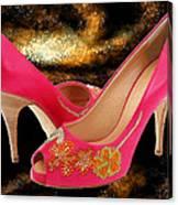 Pink Peeptoe Pumps With Swarovski Crystals Canvas Print