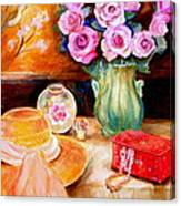 Pink Roses In A Green Vase With A String Of Pearls And A Pretty Summer Straw Hat  Canvas Print