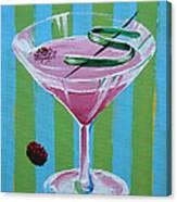 Pink Stripe Martini Canvas Print