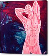 Pink Transgender Male Nude Figure On Blue Green Red Chaotic Background Of Transformation And Change Canvas Print