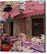 Pink Umbrella And Garlic Canvas Print
