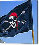 Pirate Flag Skull With Red Scarf Canvas Print
