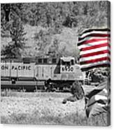 Pirates And Trains Black And White Canvas Print