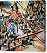 Pirates Preparing To Board A Victim Vessel  Canvas Print
