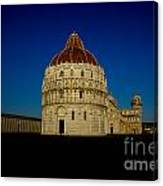 Pisa Tower And Baptistery Cathedral Canvas Print