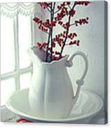 Pitcher With Red Berries  Canvas Print