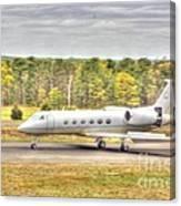 Plane Landing Air Brakes Blur Background Canvas Print