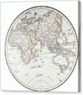 Planispheric Map Of The Eastern Hemisphere Canvas Print