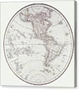 Planispheric Map Of The Western Hemisphere Canvas Print