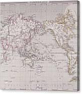 Planispheric Map Of The World Canvas Print