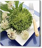 Plate Decorated With Flowers Canvas Print