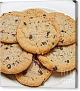 Plate Of Chocolate Chip Cookies Canvas Print