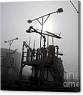 Platforms And Tanks At Petrocor In The Fog Canvas Print