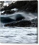 playing with waves 2 - A beautiful image of a wave rolling in noth coast of Menorca Cala Mesquida Canvas Print