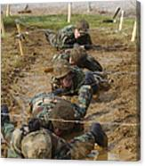 Plebes Low Crawl Under Barbwire As Part Canvas Print