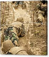 Plebes Navigate The Low Crawl Obstacle Canvas Print