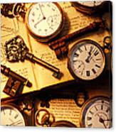 Pocket Watches And Old Keys Canvas Print