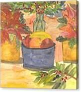 Poinsettias Holly And Table Fruit Canvas Print