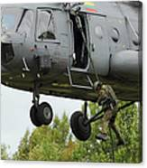 Polish Special Forces Member Fast-ropes Canvas Print