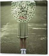 Polka Dotted Umbrella Canvas Print