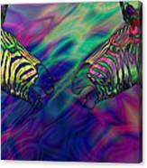 Polychromatic Zebras Canvas Print