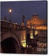 Ponte And Castel Sant' Angelo At Night Canvas Print
