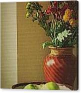 Poppies and apples still life Canvas Print